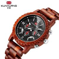 China Man Red Sandal Wooden Quartz Watch Black Dial 6 Pointers 1014-3 for sale