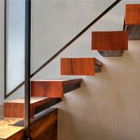 China Modern indoor wood staircase invisible stringer wood tread floating stairs on sale