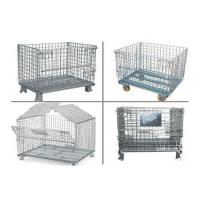 Wholesale Portable Stackable Storage Cages , Folding Wire Mesh Container Sizes Custom from china suppliers