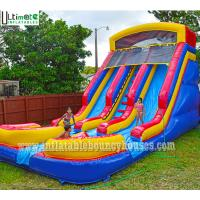 Best Kids Commercial Inflatable Water Slides Two Lane With Pools Lead Free PVC Tarpaulin wholesale