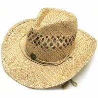 Wholesale Summer Unisex Woven Straw Cowboy Hats With Fedora Band Outdoor Protecting from china suppliers