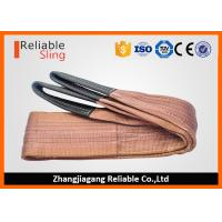 Best 6000 KG Brown Polyester Webbing Lift Sling Safety Factor 7-1 with Reinforced Loop Ends wholesale