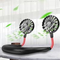 Wholesale Hot Selling Unique Gifts Electric Rechargeable Portable Mini USB Neck Hanging Fan with Light notebook usb fan with light from china suppliers
