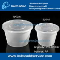 Wholesale 500ml/1000ml clear PP plastic disposable noodle bowl and soup bowl with lid mould from china suppliers
