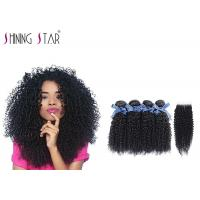 Wholesale 100 Virgin Curly Unprocessed Hair Bundles With Lace Closure In Natural Black from china suppliers
