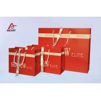 Wholesale Red Art Paper Bags / Colored Paper Gift Bags Middle Hole Glued White Ribbon​ from china suppliers
