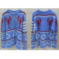 Wholesale Fancy Crew Neck Mens Jacquard Wool Sweaters for Autumn in Blue from china suppliers