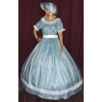 Wholesale Civil War Dress Wholesale XXS to XXXL CIVIL WAR SASS DICKENS VICTORIAN Aqua Print Costume Dress Gown with Bonnet Hat from china suppliers