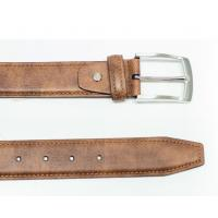 China Tan Pronged Buckle Harness Leather Belt For Mens , Custom Leather Belts on sale