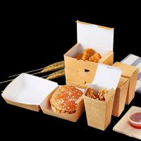China Collapsible Fried Chicken Takeaway Boxes Kraft Paper Material Vent Hole Design for sale