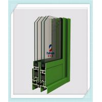 Heat Insulation Aluminum Door Profile , Aluminium Glass Profile Green Color