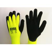 Fluorescent Yellow Latex Palm Coated Gloves , Rubber Coated Gloves Knit Wrist Type for sale