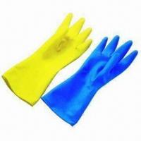 Household latex gloves, roll cuff, excellent tensile strength, nonslip grip, CE-/ASTM-approved for sale