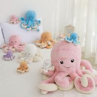 China Colorful Cute Plush Dolls Multiple Sizes Octopus Shape Embroidery Eyes As Gift for sale