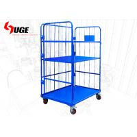 China Convenient  Movable Warehouse Cage Trolley 3 Sides With 6 Inch Nylon Wheels for sale