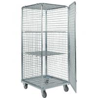 China Four Mesh 2 Shelves Wire Utility Cart / Wire Roll Cage For Tools Storage for sale