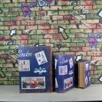 China Set of 3 Wooden Secret Book Storage Boxes Vintage Style Book Hidden Storage Trinket Box for sale
