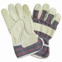 10.5-inch Safety Gloves, Pig Grain Leather, Full Palm, Stripe Back, Pasted Cuff, Half Lining for sale