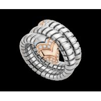 Best Bvlgari  Serpenti Tubogas ring in 18 kt pink gold, steel and pavé diamonds Ref. AN856666 wholesale