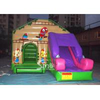 Quality Commercial backyard jungle theme kids inflatable jumping castle with slide made for sale