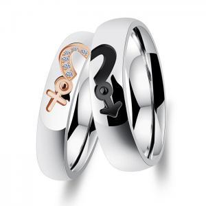 Titanium Custom Couple Rings / No Diamond Engagement Rings For Anniversary