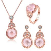 Buy cheap Pink Oval Stone 925 Silver Gemstone Jewelry Chain Necklace Ring Earrings Dangle from wholesalers