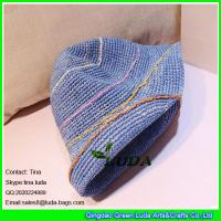 Wholesale LDMZ-007 navy blue ladies bucket hats foldable raffia straw visor cap from china suppliers