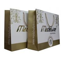 Gold White Paper Carrier Bag Of Made Line Lady Fashion Collection Twist Handle Embossed Logo for sale