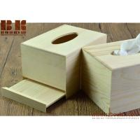 China Eco-friendly unfinished Rectangle wooden napkin box napkin container tissue organizer for sale