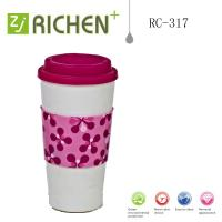 Wholesale RC-317 double wall plastic tumblers Printing sleeve coffee mugs 16oz from china suppliers