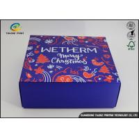 Wholesale Luxury Christmas Printed Blue Cardboard Gift Boxes / Packaging Paper Box from china suppliers