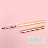 Wholesale Custom Logo Wooden Handle Size #4 Orange Pink Square Flat Gel Brush With Lid from china suppliers