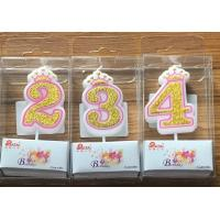 China White Candle  Gold painting and Pink line with Cute Crown Number Birthday Candles 0-9 on sale