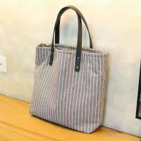 Striped Organic Cotton Canvas Tote Bag Fashion With Leather Handle for sale