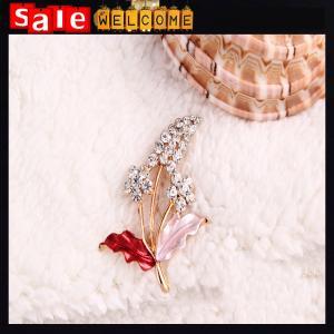 China Garment Dress Accessories Wedding Bridal Luxury Rhinestone Flower Rose Enamel Brooch on sale