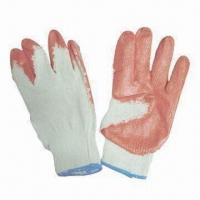 Latex-coated safety gloves, 10g poly/cotton string knit lining, smooth-coated, open back, CE-marked for sale