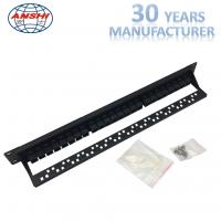 Quality Double Side Connection Thru Type Black Rack Mount Patch Panel 19inch Unshielded for sale