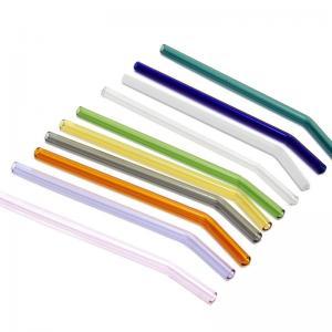 China Personalized Bent Glass Drinking Straws , Pyrex Glass Drinking Straws on sale