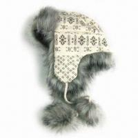 Wholesale Acrylic Knitted Jacquard Hat with Satin Lining and Fake Fur at Cuff from china suppliers
