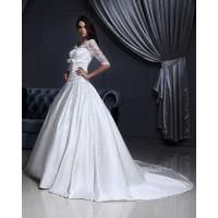 Quality Luxurious Lace Long Sleeved V Neck chiffon Wedding gowns with long trains for sale