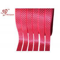 Red Polyester personalized awareness ribbons With Little Polka Dots for sale