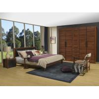 China 2016 New Nordic Design Cow leather Headboard bed in Walnut wood Furniture and MDF panel Wardrobe in Wall cabinet on sale