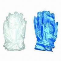 Disposable Vinyl Safety/Working Gloves, Powder-free or Powered Inner, Comes in White/Blue, CE Mark for sale