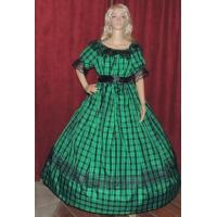 Wholesale Civil War Dress Wholesale XXS to XXXL CIVIL WAR REENACTMENT SASS LARP DICKENS Green Plaid Taffeta Costume Dress Gown from china suppliers