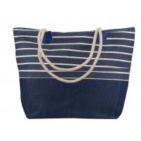 Cotton Canvas Blue And White Striped Beach Bag Ladies Simple Casual Style for sale