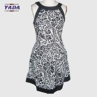 China New fashion round neck sleeveless flower printed casual dresses brand pretty women knitted dress in cheap price on sale