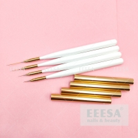 Wholesale 5 7 12 20Mm In White Wooden Handle Rose Gold Lid Nail Art Striper Detail Liner Brushes Set from china suppliers