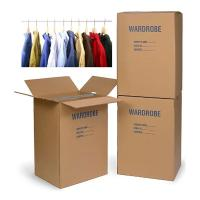 China Colored Corrugated Wardrobe Moving Boxes Packaging Corrugated Paper Carton Plus Bars for sale