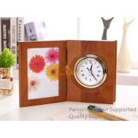 Wholesale Good Quality Home/Office Decoration Matte Walnut Photo Frame Desk Top Table Clock, Small Order, Quality Guarantee from china suppliers