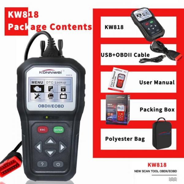 Stable Konnwei KW818 Eobd Obd2 Obdii Car Scanner Diagnostic 6 Languages